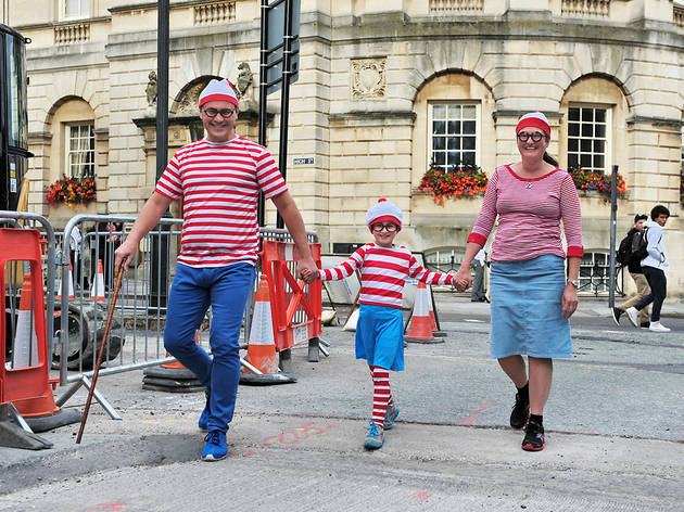 Family dressed up as Where's Wally?