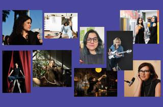 Retratos de mujeres agrupados en collage