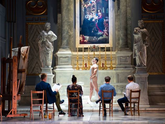 People in a life class drawing a nude model on the Tosca et depicting Rome's Sant'Andrea della Valle church