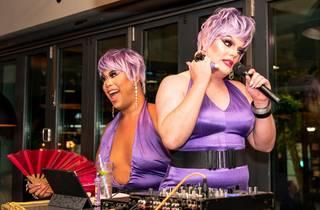 Drag queens Coco Jumbo and Carmen Geddit host GenderBender Bingo.