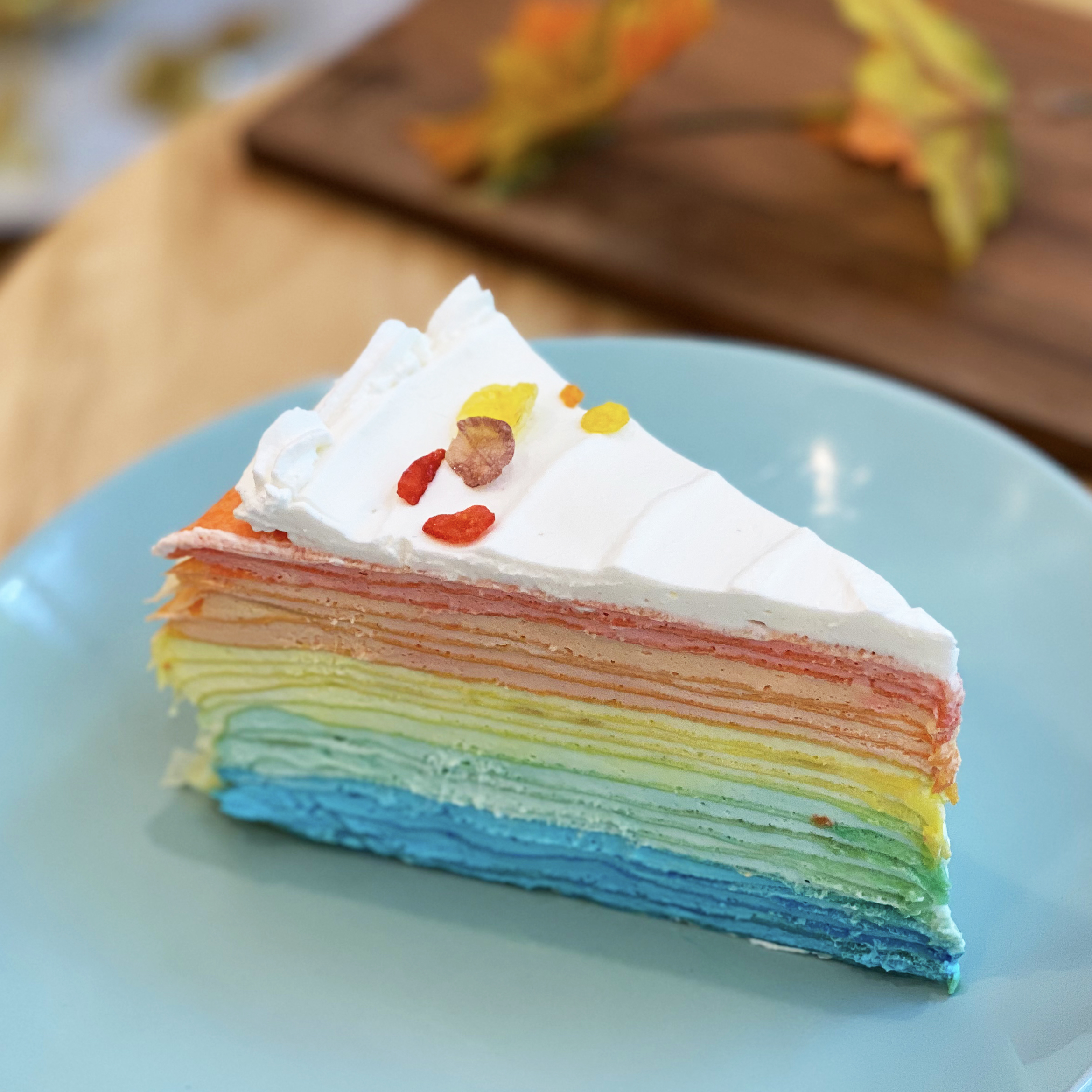 Treat yourself to a delicious, colorful rainbow crepe cake from this NYC bakery