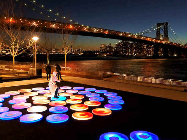 This immersive new public art installation brings colorful light-up platforms to the Brooklyn waterfront