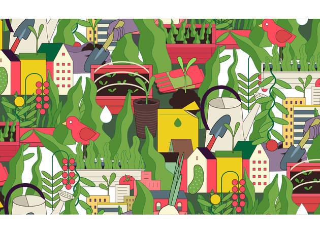 Ilustración con elementos de huertos urbanos