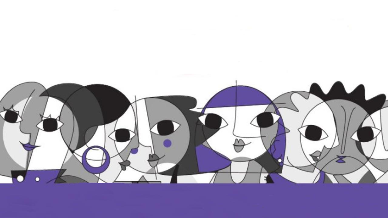 Ilustración de rostros de mujeres formados con figuras geométricas
