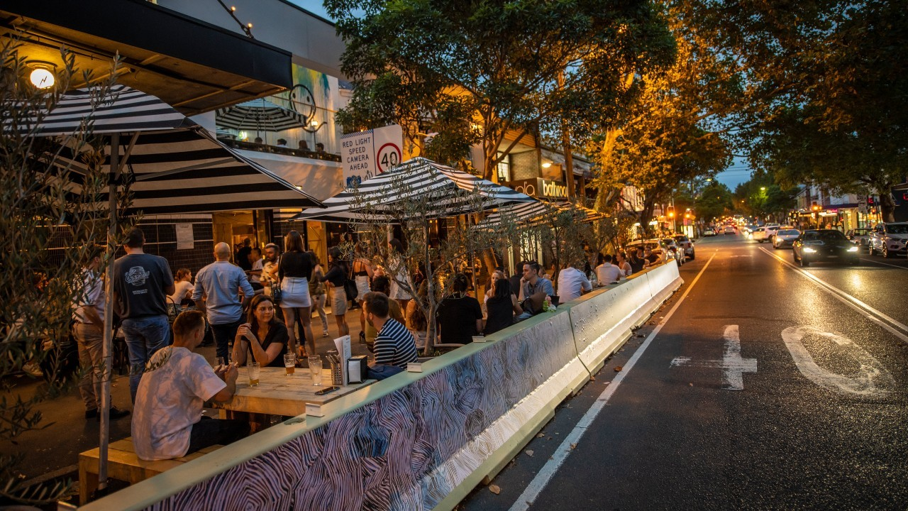 Dining on the street at the Dolphin Surry Hills