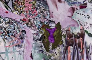 A close up of a wild collage of pinks and purples, very textural