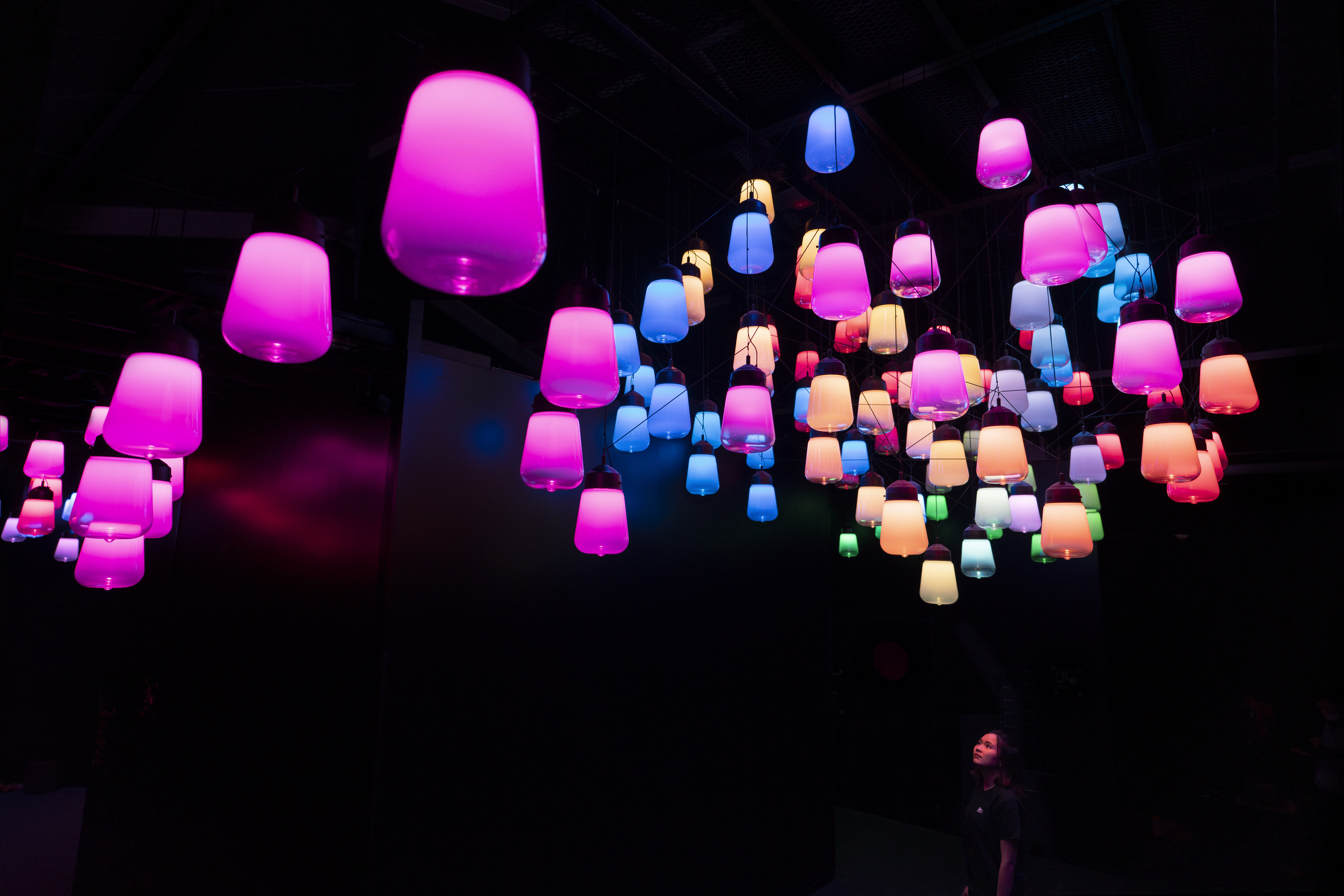 'Array and Spiral of Resonating Lamps - One Stroke, Metropolis Tokyo'