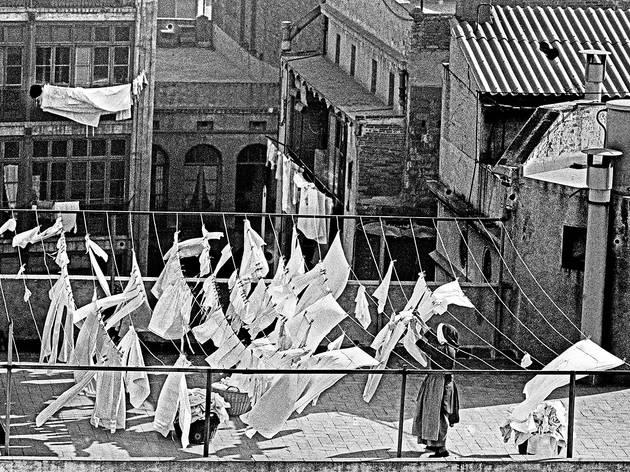 Monges estenent roba al terrat, 1964