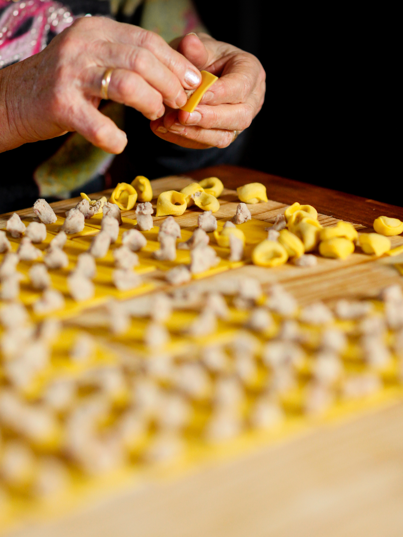 Preparation of the traditional homemade pasta of Modena City