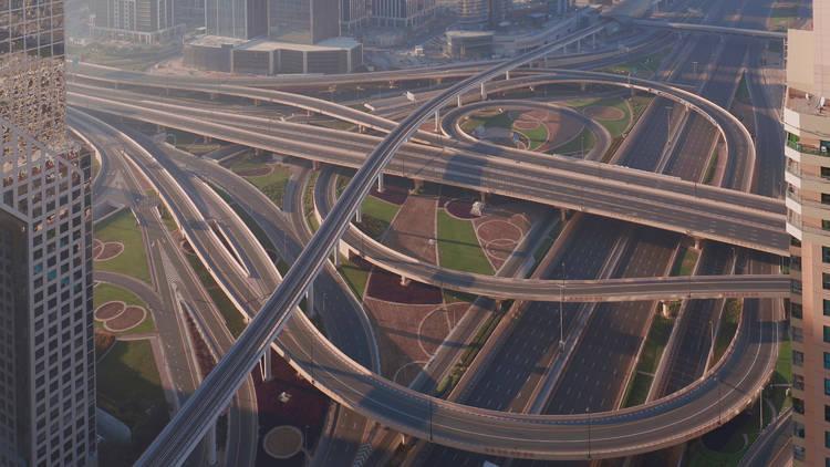 Empty roads in Dubai