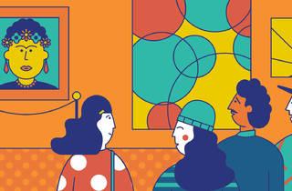 Ilustración de personas en un museo viendo una pintura de Frida Kahlo