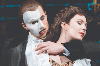 Josh Piterman in the famous half-face mask of The Phantom of the Opera