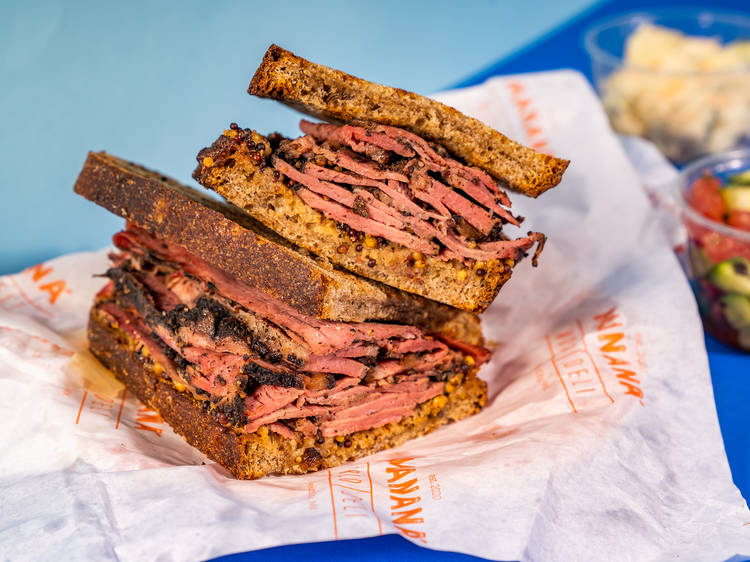 Pastrami sandwich on rye from Mananá World Deli   Mexico City