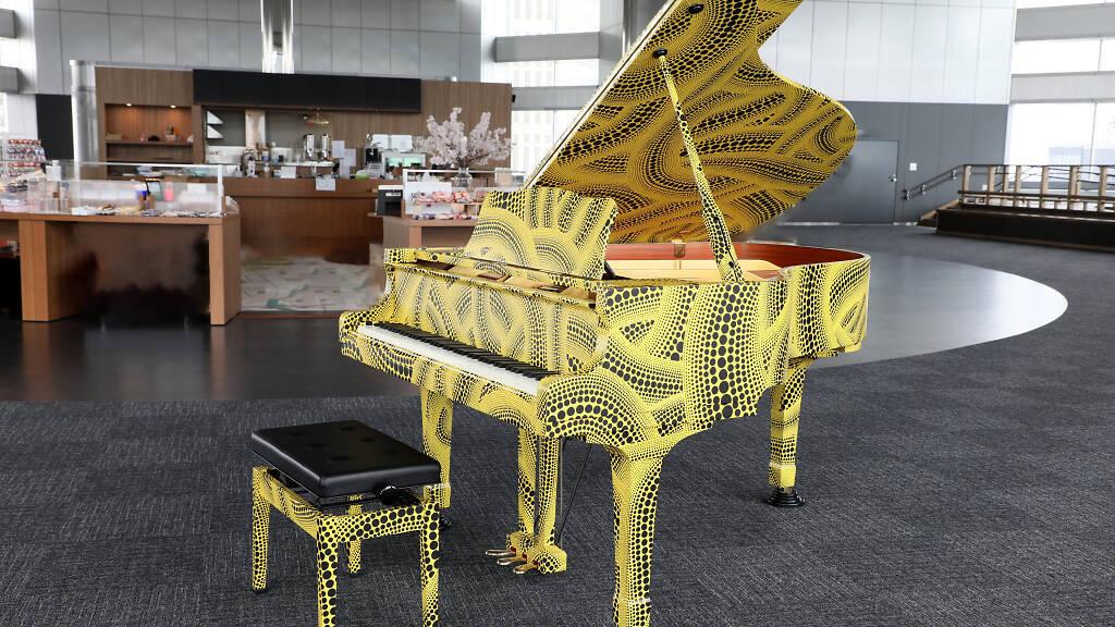 Photo: Tokyo Metropolitan Government Omoide Piano, collaborated by Yayoi Kusama