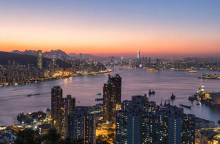 An awesome sunset at the Devil's Peak, Hong Kong
