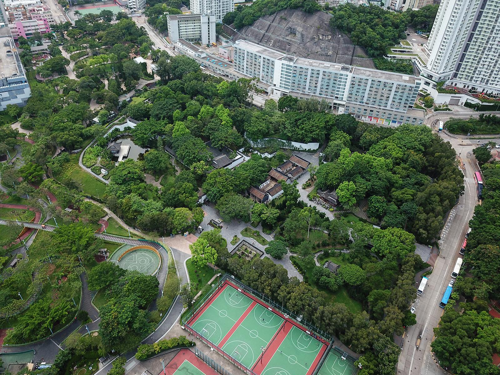 Kowloon Walled City Park aerial shot