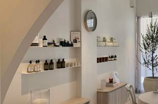 Shelves with beauty products