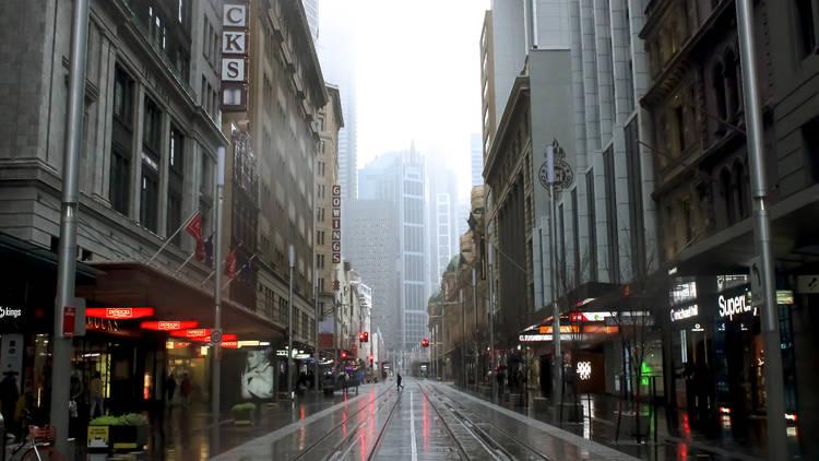 Sydney CBD in the rain