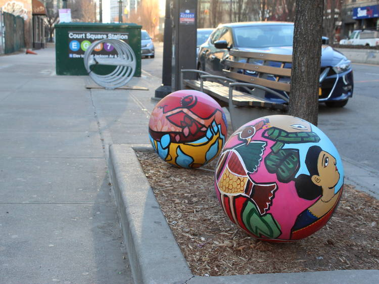 Find 20 painted planets all over Long Island City
