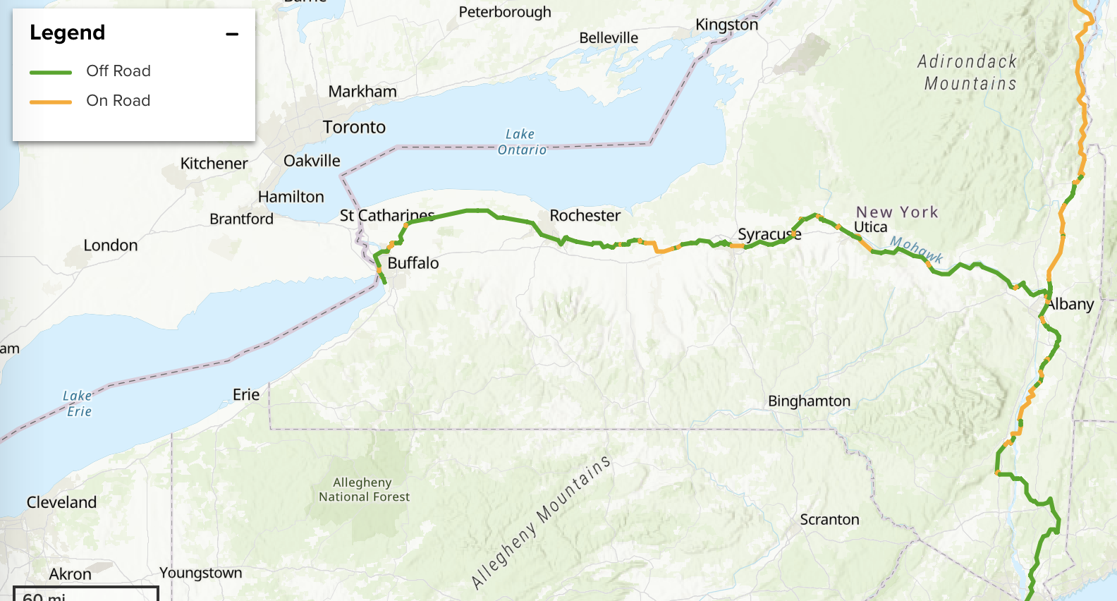 This interactive map lets you plan your 750-mile trek from NYC to Canada