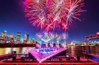 Fireworks erupt over the spectacular La Traviata set for Handa Opera on Sydney Harbour