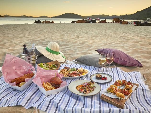 Bathers, beachside restaurant