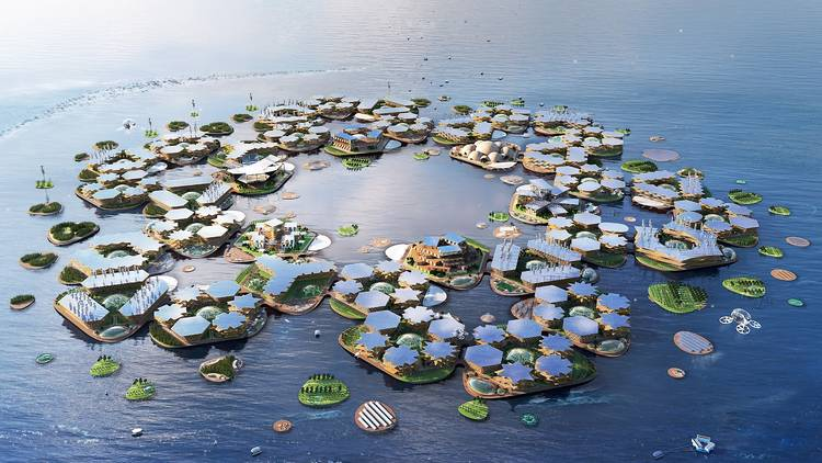 Oceanix floating city project by BIG