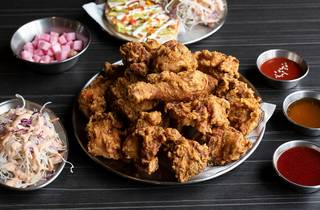 Bon Chicken and Beer fried chicken and kimchi