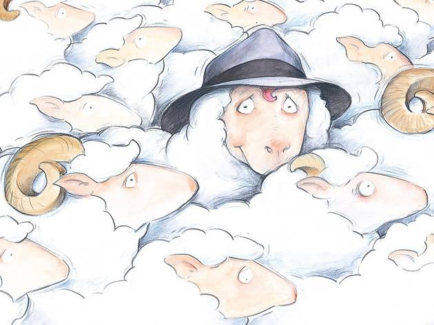 Cartoon image depicts flock of sheep, one wears a hat and looks at the viewer.