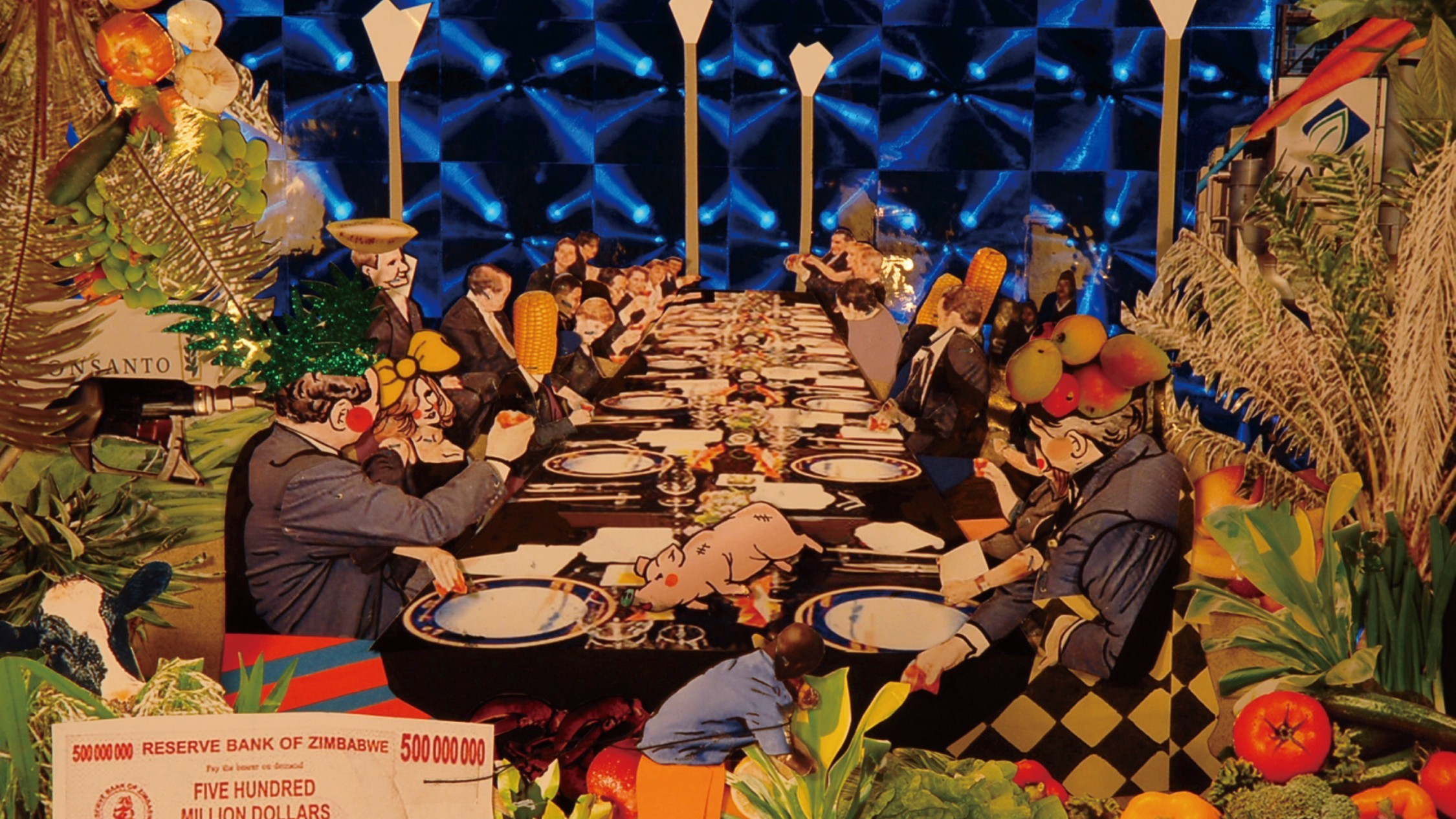 Detail from a bright, bold video projection of a Taiwanese feast