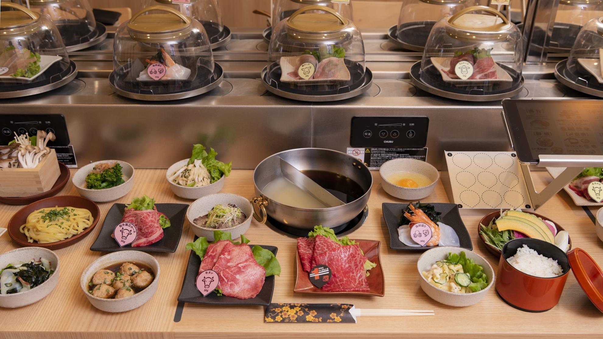 Conveyor belt hot pot restaurant