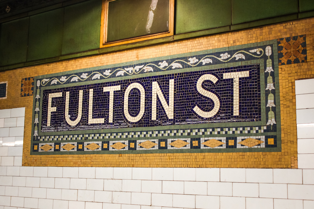 A New Yorker changed the Fulton St subway sign for April Fool's Day