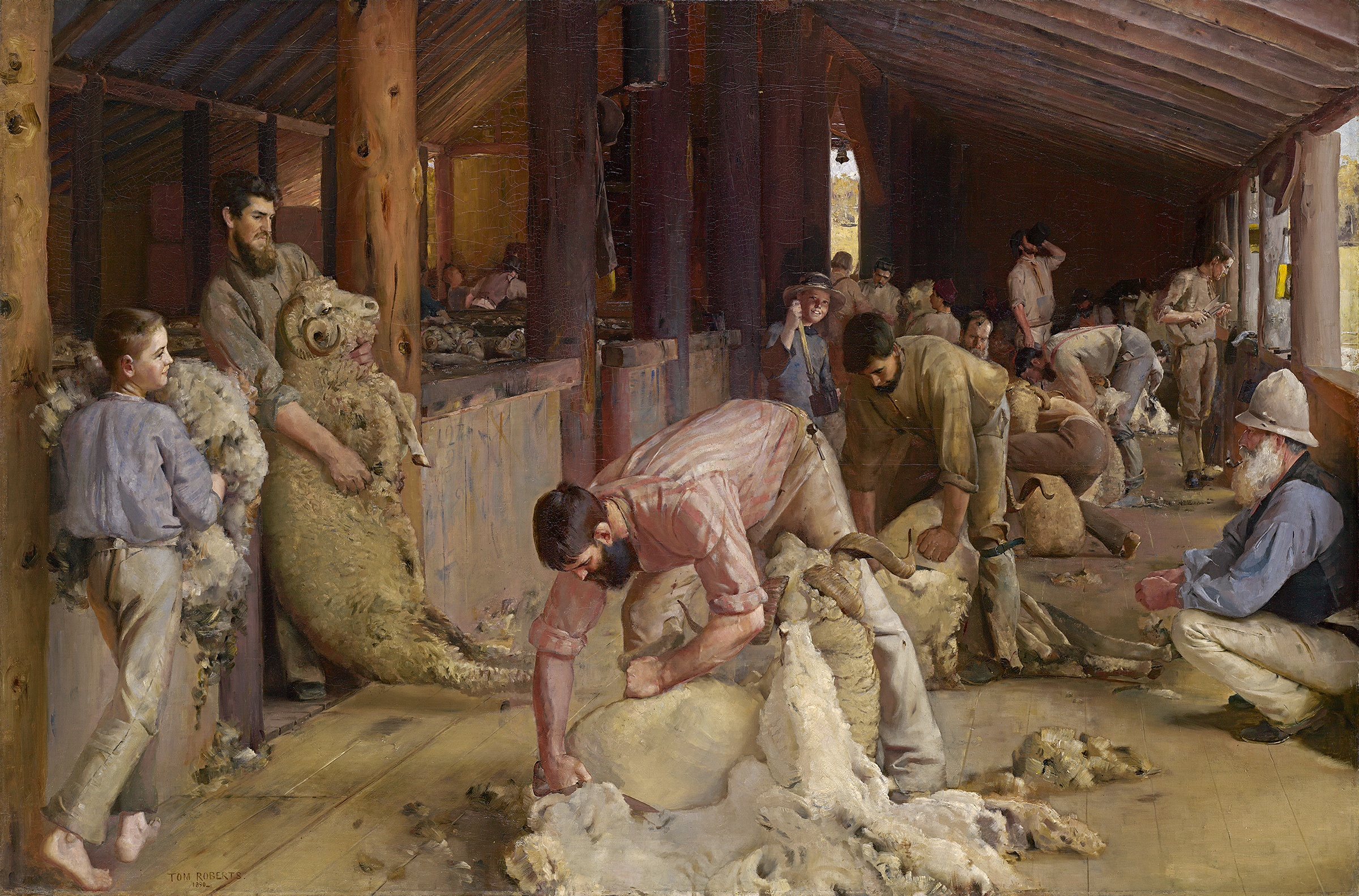 An oil painting on men in a shearing shed. In the centre is a dark-haired man shearing a ram.
