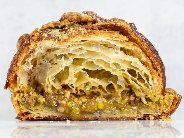Cross section of Baklava Croissant from Banksia Bakehouse