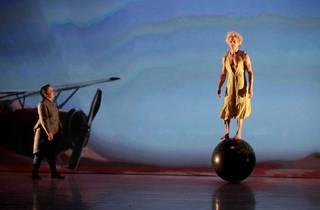 The Little Prince balances on a big ball