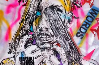 A street-art style picture of a man holding two guns over his eyes