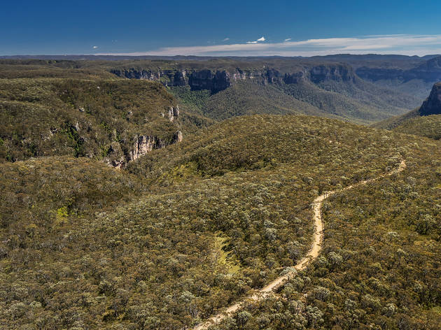Aerial view of walking trails above the Grose Valley near Lockleys Pylon, Blue Mountains National Park