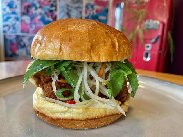 Cambodian fried chicken sandwich at Hermosa