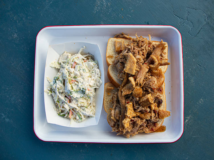 Rod's Original Whole Hog Pork Sandwich from Rodney Scott's Whole Hog BBQ   Charleston