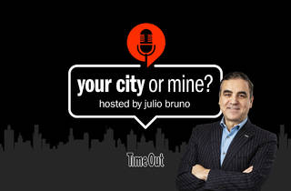 'your city or mine?' logo with host, Julio Bruno