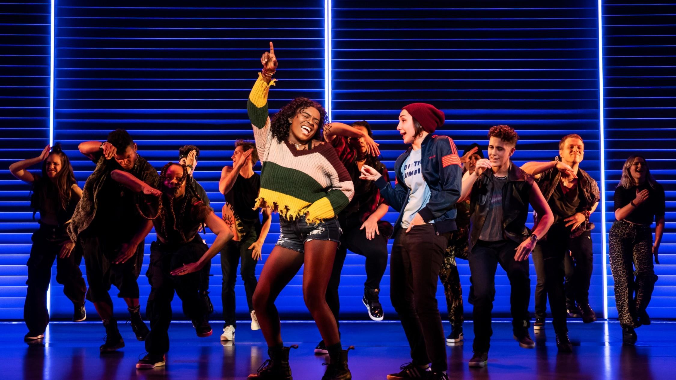 The cast of Alannis Morissette's musical Jagged Little Pill dancing