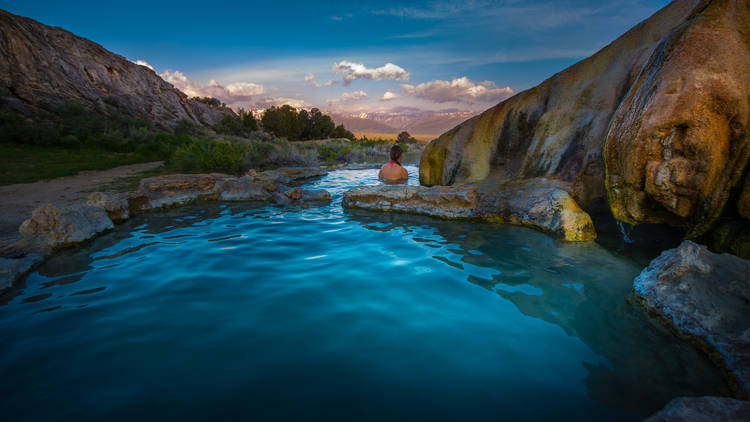 Woman,Relaxes,In,Travertine,Hot,Springs,California,Usa