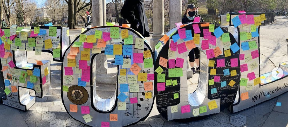 A new public sculpture in Tompkins Square Park is covered in Post-Its revealing New Yorkers' most foolish moments