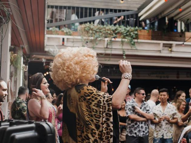 Drag Queen Tora Hymen hosts two-up at The Bank, Newtown
