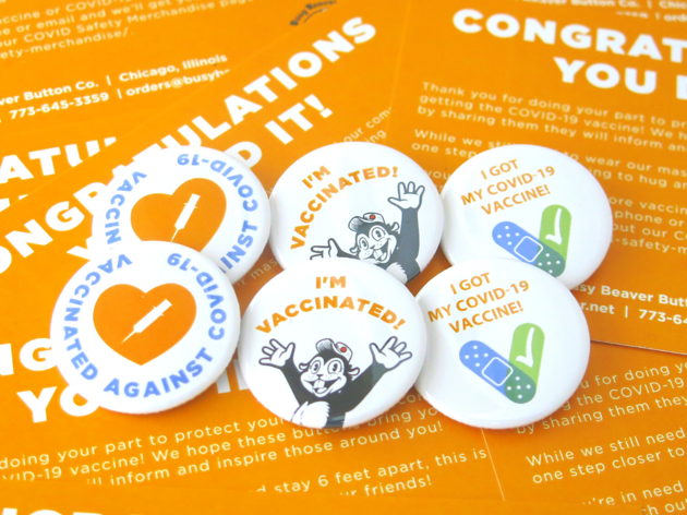 I Got Vaccinated buttons from Busy Beaver Button Co