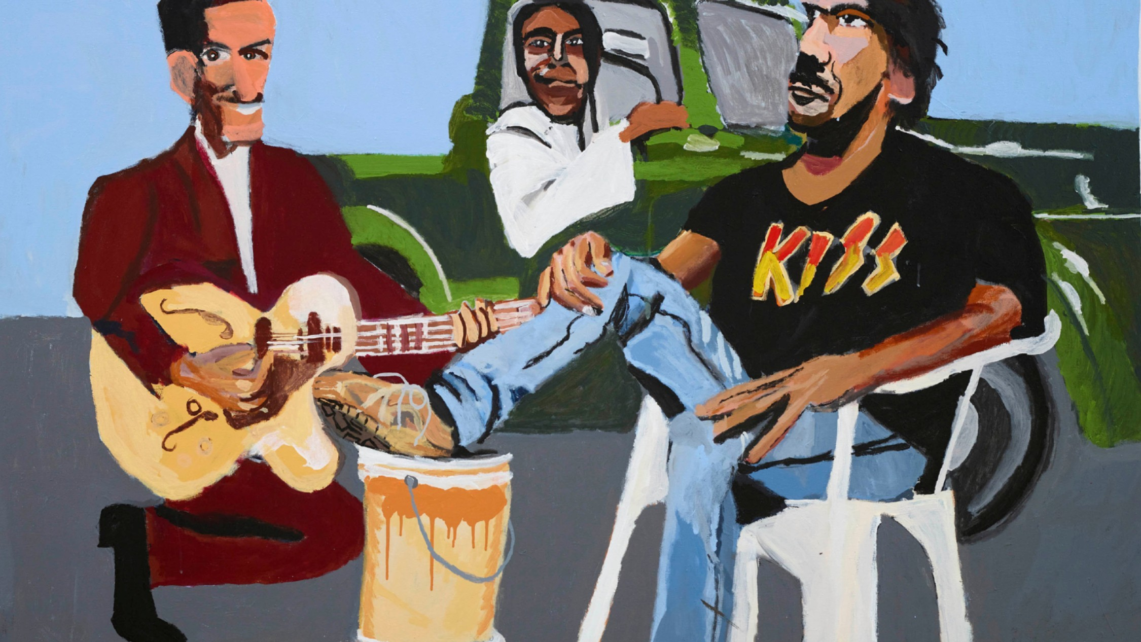 A self-portrait of artist Vincent Namatjira and friends