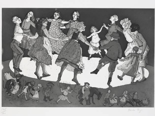 'Menina com homem pequeno e cão' (1987), doada por Paula Rego à Fundação de Serralves em 1989