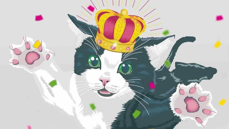 Ilustración de gato con corona de rey