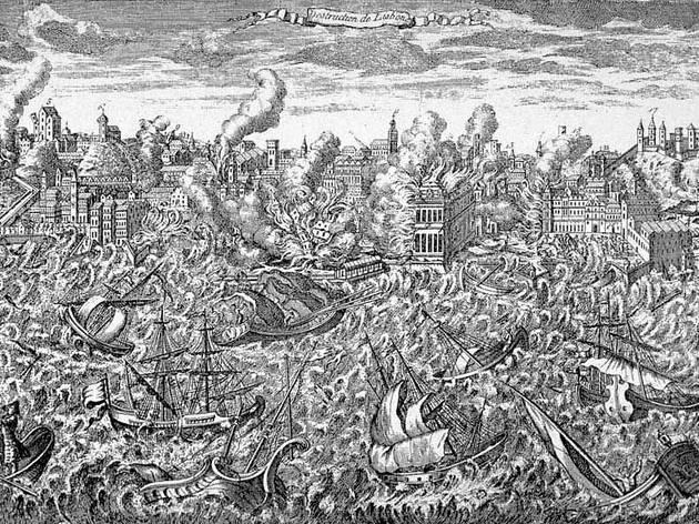Gravura em cobre de 1755 mostrando Lisboa em chamas e o tsunami varrendo o porto.