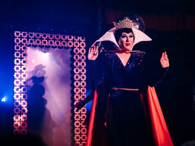 Drag queen performs in evil queen costume